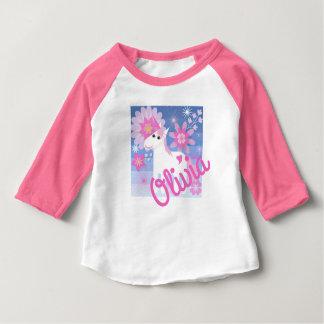 Spitze des hübscher rosa Unicorn-kundenspezifische Baby T-shirt