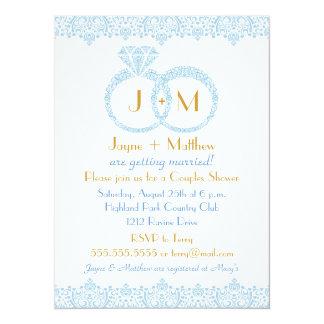 Spitze-Ehering-Einladung 14 X 19,5 Cm Einladungskarte