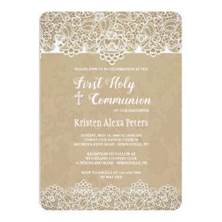 Spitze fasst Kommunions-Einladung ein Karte