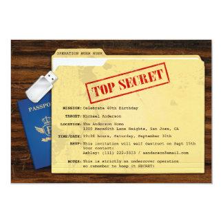Spitze - geheime Agent-Auftrag-Überraschungs-Party Ankündigungskarte