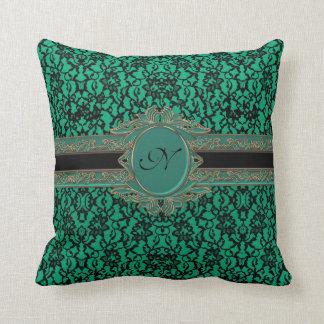 Spitze-Gewohnheits-Monogramm Kelly grünes irisches Kissen
