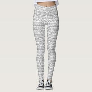 Spitze-Muster-Streifen | grauer und weißer Leggings