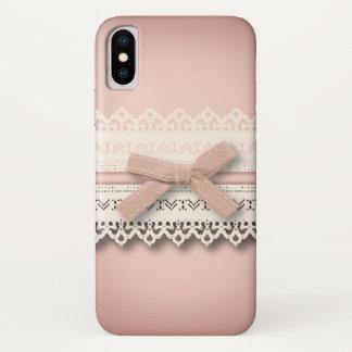Spitze-Rosabogen Kawaii Prinzessin girly schicker iPhone X Hülle