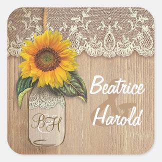 Spitze-Sonnenblume-Holz und Weckglas rustikal Quadratischer Aufkleber