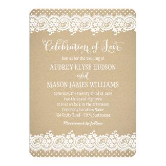 Spitze und Kraftpapier der Hochzeits-Einladungs-| Individuelle Einladungen