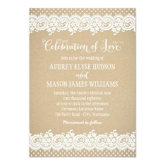 Spitze und Kraftpapier der Hochzeits-Einladungs-| 12,7 X 17,8 Cm Einladungskarte