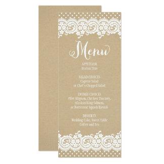 Spitze und Kraftpapier der Hochzeits-Menü-Karten-| Karte