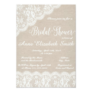 Spitze-und Leinwand Brautparty-Einladung II 12,7 X 17,8 Cm Einladungskarte