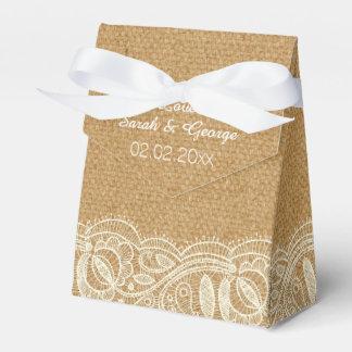 Spitze-und Leinwand-Hochzeit Geschenkkartons