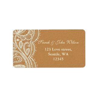 Spitze und Packpapier-Hochzeit Adressaufkleber