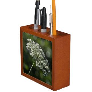 Spitze-weißer Wildblume-Schreibtisch-Organisator Stifthalter