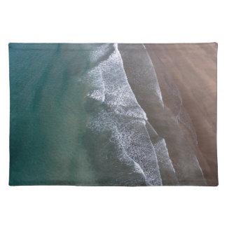 Spitzen- Wellen Whitesands Bucht Wales Stofftischset