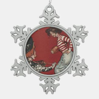SPITZENfußball-Mädchen Schneeflocken Zinn-Ornament