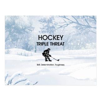 SPITZENHockey-Dreiergruppen-Drohung Postkarte