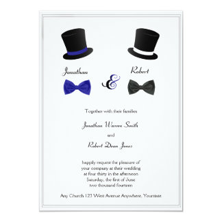 Spitzenhut-und Bogen-Krawatten-blaue homosexuelle 12,7 X 17,8 Cm Einladungskarte