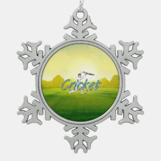 SPITZENkricket Schneeflocken Zinn-Ornament