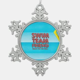 SPITZENSchwimmen-Freund Schneeflocken Zinn-Ornament