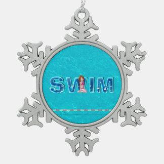 SPITZENSchwimmen-Kinder Schneeflocken Zinn-Ornament