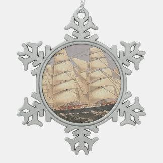SPITZENsegeln-Meere Schneeflocken Zinn-Ornament