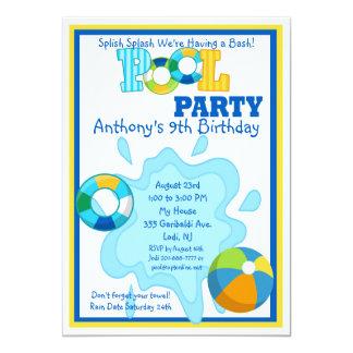 Splish Spritzen-Jungen-Pool-Party Einladung