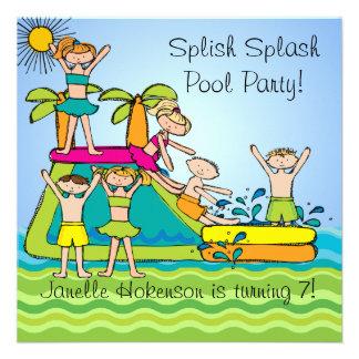 Splish Spritzen-Pool-Party-kundenspezifischer Personalisierte Einladung