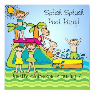 Splish Spritzen-Pool-Party-kundenspezifischer Quadratische 13,3 Cm Einladungskarte
