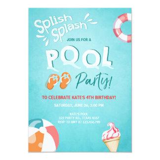 Splish Spritzengeburtstagseinladung Pool-Party Karte