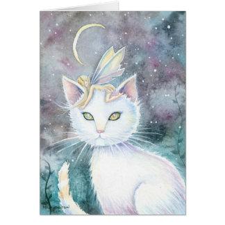 Splitter-Mond-Katze und Fee-Aquarell-Karte Grußkarte