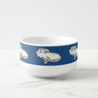 Sport-Auto-Illustration 1964 Jaguars XKE antike Große Suppentasse