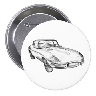 Sport-Auto-Illustration 1964 Jaguars XKE antike Runder Button 7,6 Cm