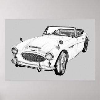 Sport-Auto-Illustration Austin Healeys 300 Plakatdruck