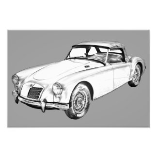 Sport-Auto-Illustration MGs konvertierbare Photo Druck