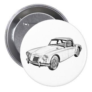 Sport-Auto-Illustration MGs konvertierbare Runder Button 7,6 Cm
