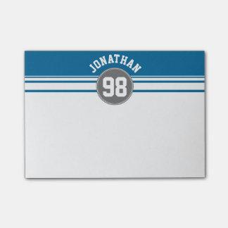 Sport Jersey blaue und graue Streifen-Namenszahl Post-it Klebezettel