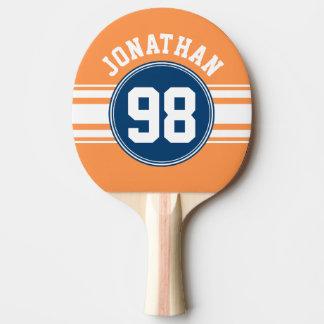 Sport Jersey blaue und orange Streifen-Namenszahl Tischtennis Schläger