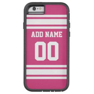 Sport Jersey mit Namen und Zahl - rosa Weiß Tough Xtreme iPhone 6 Hülle