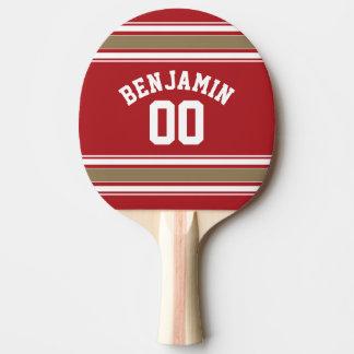 Sport-Jersey-Rot und Goldstreifen-Namenszahl Tischtennis Schläger