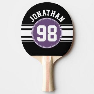 Sport Jersey schwarze und lila Streifen-Namenszahl Tischtennis Schläger