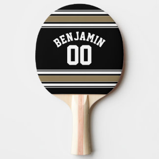 Sport-Jersey-Schwarzes und Goldstreifen-Namenszahl Tischtennis Schläger