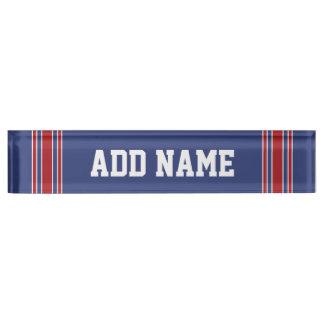 Sport-Team Jersey mit individuellem Namen und Zahl Schreibtischplakette
