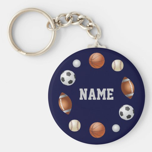 Sport-Welt personalisiertes Keychain - Blau Schlüsselbänder