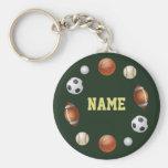 Sport-Welt personalisiertes Keychain - Grün Schlüsselanhänger