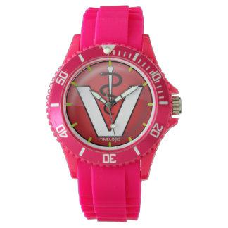 Sportlich mit rosa Silikon-Bügeluhrtierarzt Uhr