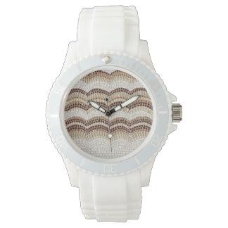 Sportliche das Silikon-Uhr der beige Mosaik-Frauen Uhr