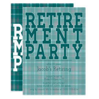 Sportliche grüne karierte Ruhestands-Party 12,7 X 17,8 Cm Einladungskarte