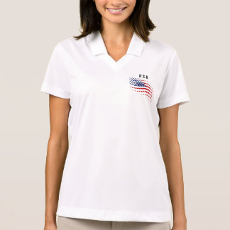 Sportliche Halbtonbild-USA-amerikanische Flagge Polo Shirt