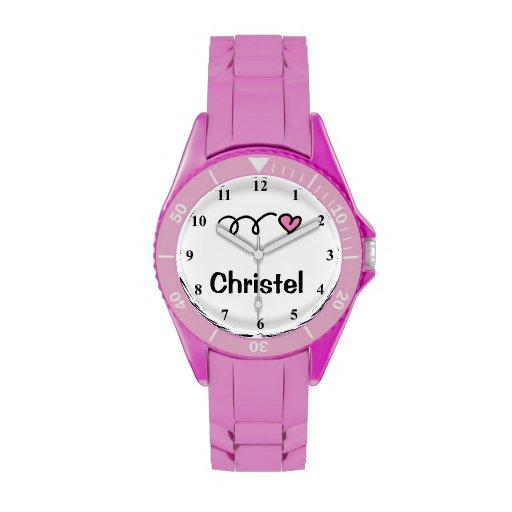 Sportliche Mädchenuhr mit personalizable Namen Uhr