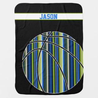 Sportliche Streifenbasketball-Babydecke des blauen Baby-Decke