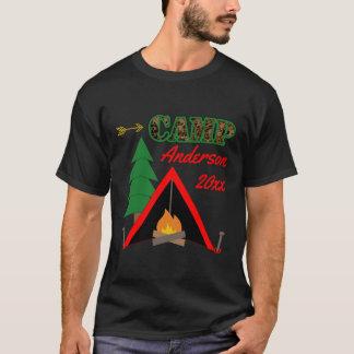 Sportlicher Campings-Lagerfeuer-Zelt-Name T-Shirt