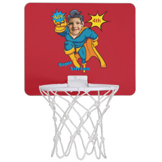 Sportsuperhero-personalisierte Comic-Kunst Mini Basketball Ring